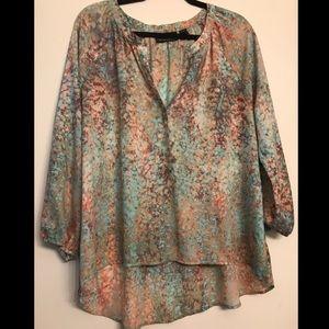 Cynthia Rowley Mint & Cream Hi-Low Blouse size XL